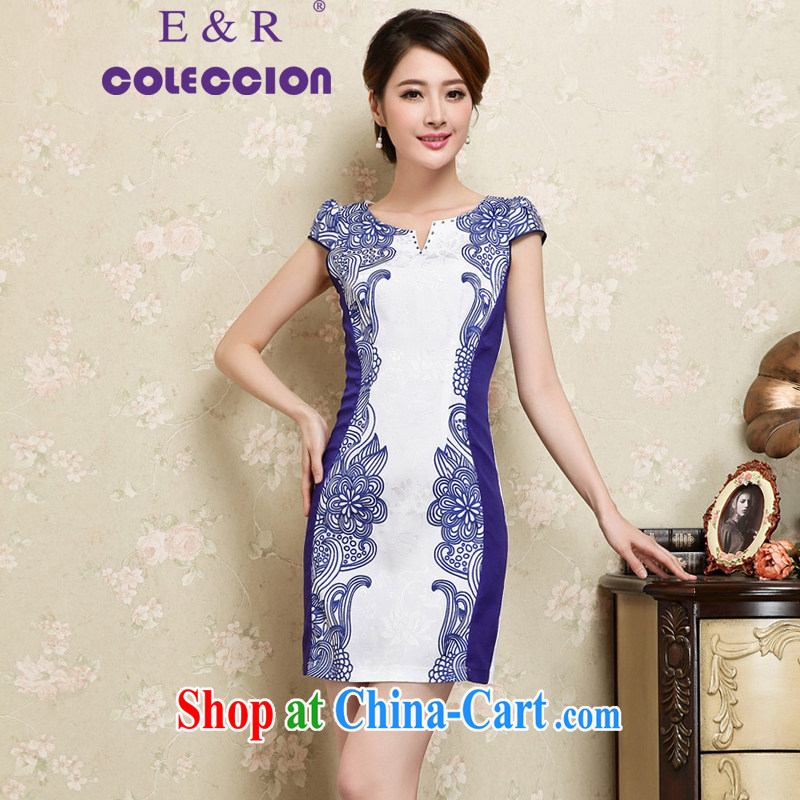 High-end cheongsam dress 2015 spring and summer new daily improved stamp retro here porcelain short sleeve cheongsam dress blue XXL