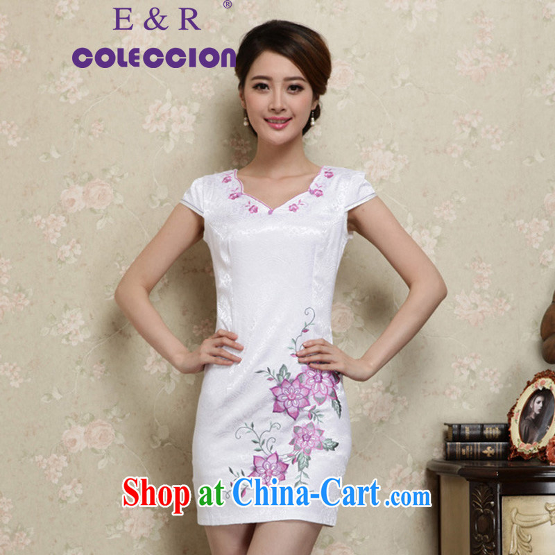 Daily cheongsam dress 2015 new Chinese improved dress short-sleeved, Ethnic Wind retro summer girls on the truck light purple XXL