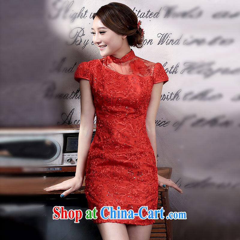 Jubilee 1000 bride 2015 spring and summer new improved Stylish retro lace bridal wedding dresses dress toast Q 325 red XXL