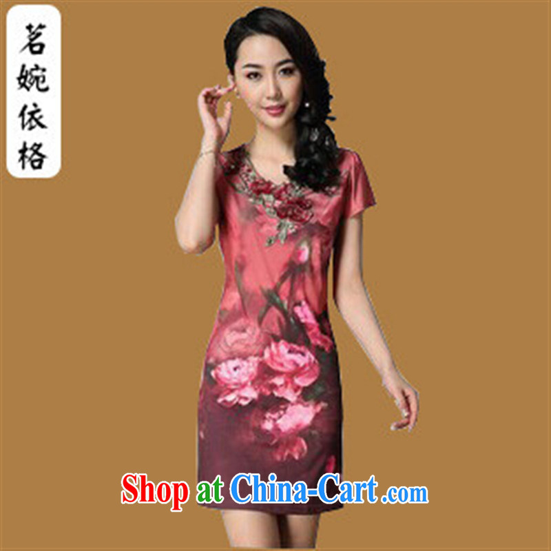 In 2014 older girls summer dresses high fashion industry rose floral 4 XL