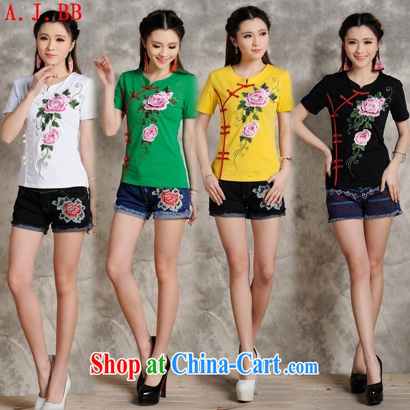 Black butterfly S 096 Ethnic Wind female spring and summer new three-dimensional embroidered retro-tie cultivating short-sleeved T pension white 4XL