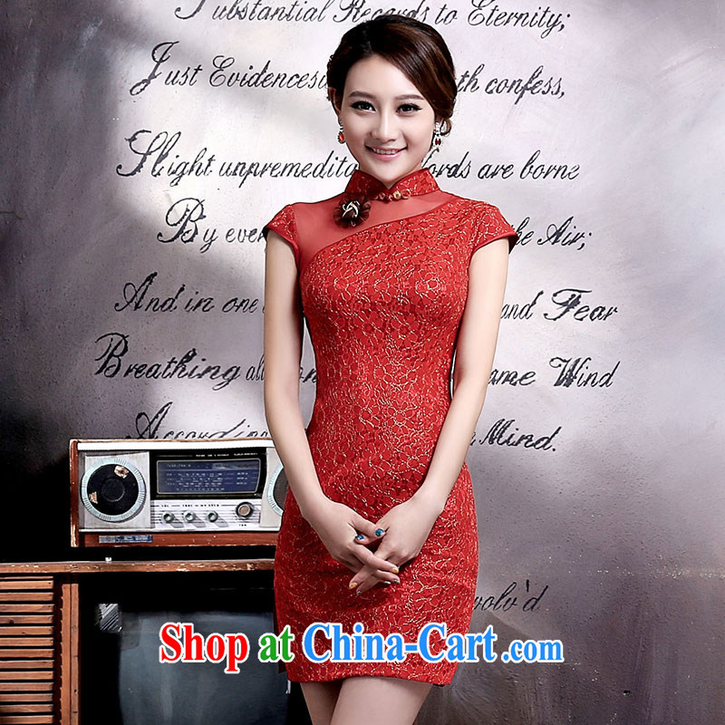 Jubilee 1000 bride's 2015 summer new Chinese Antique improved lace bridal cheongsam dress uniform toast Q 323 red XXL