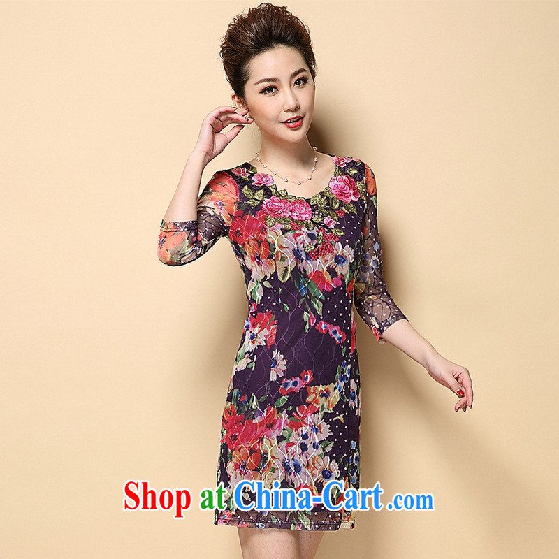 Ya-ting store in Europe and America 2015 spring and summer New in the elderly, female Lace Embroidery burglary, dresses red XL