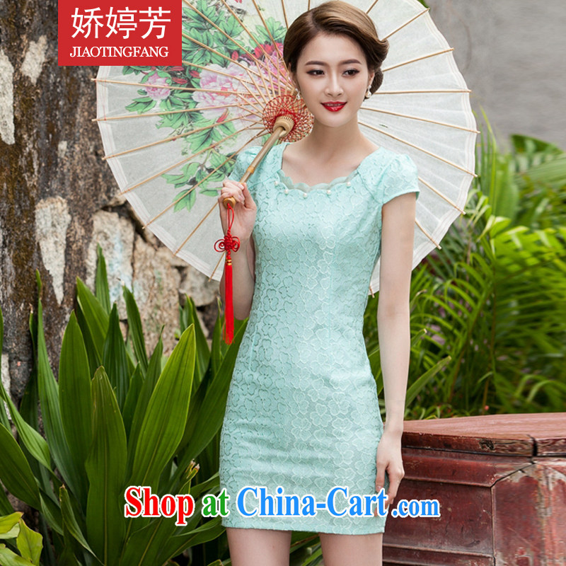Air-ting-fang 2015 summer new, lace dresses and stylish slim body language empty hook flower dress blue lake XL