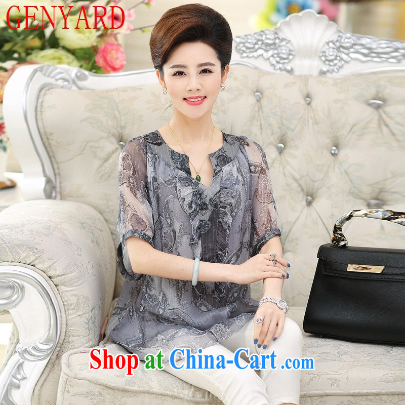 Qin Qing store 2015 spring and summer New T pension middle-aged and older and indeed the cuff silk middle-aged mother with Sauna T silk shirts female Red XXXL