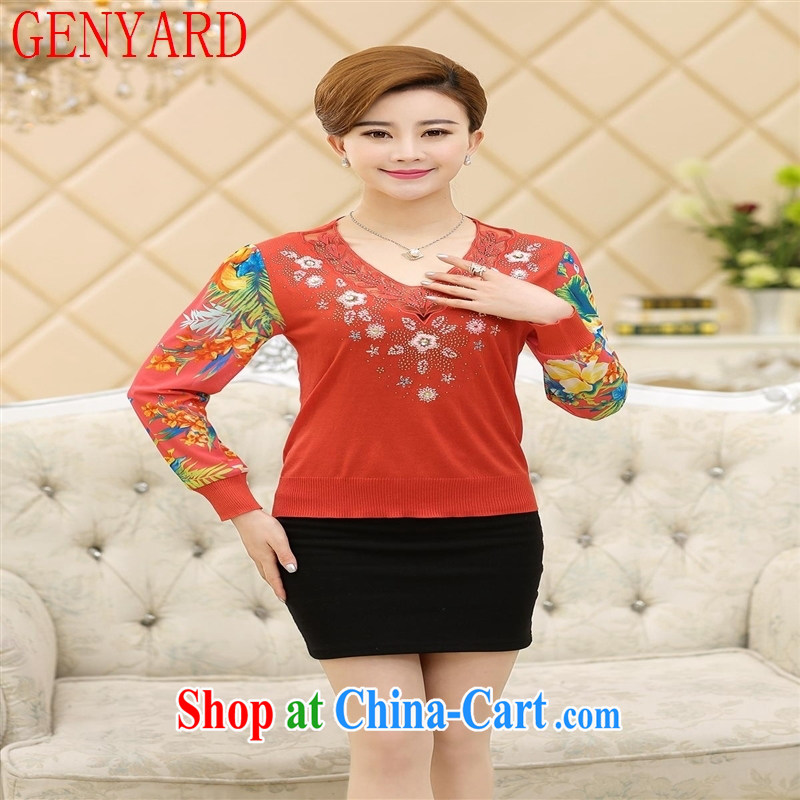 Qin Qing store 2015 spring new Korean female large code beauty Web yarn long-sleeved lace snow woven shirts solid T-shirt New T-shirt green XXXL