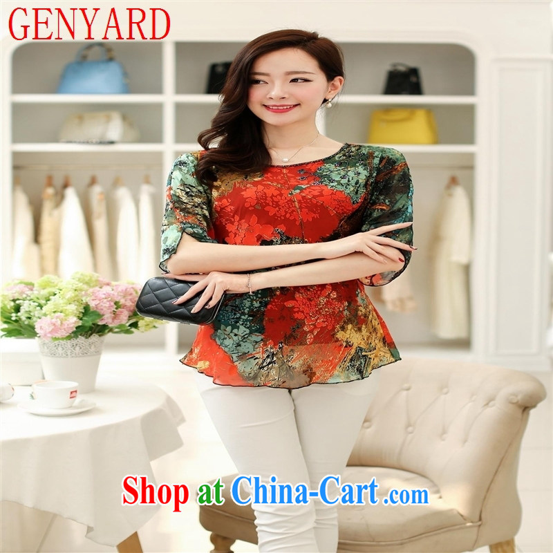Deloitte Touche Tohmatsu store sunny summer 2015 ladies stylish Korean Version Stamp is silk, loose sleeves T-shirt sauna silk mother Load T-shirt gold XXXL