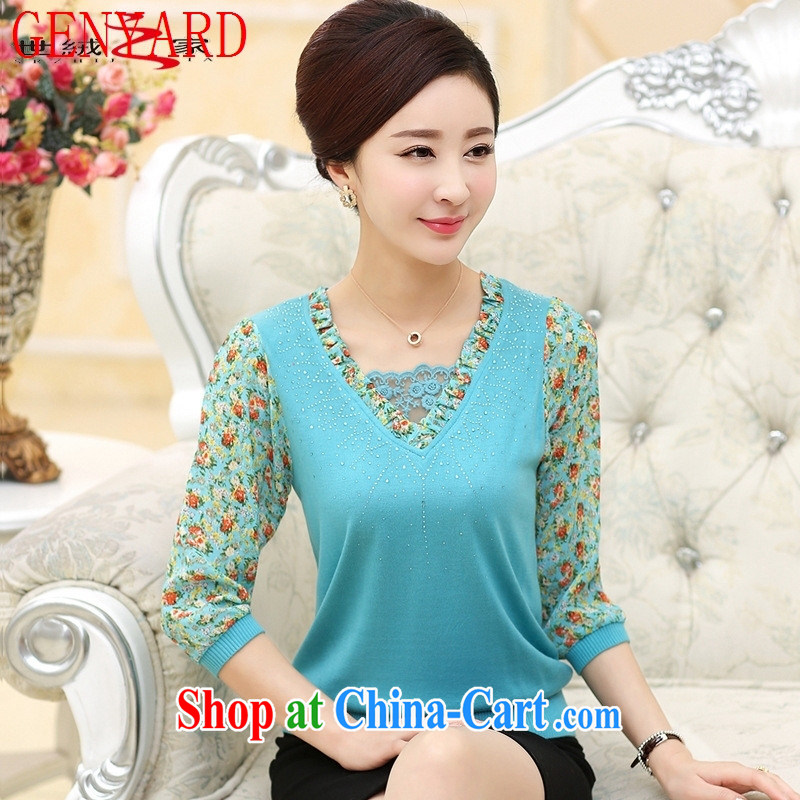 Qin Qing store 2015 middle-aged and older spring new mom with lace snow woven 7 cuff shirt T middle-aged female solid T-shirt pink XXXL