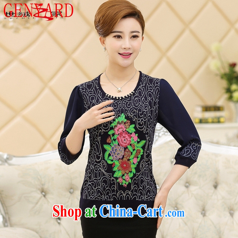 Qin Qing store 2015 middle-aged and older female spring embroidery t-shirt knit middle-aged 7 cuff spring and summer new mom with snow woven shirts dark blue XXXL