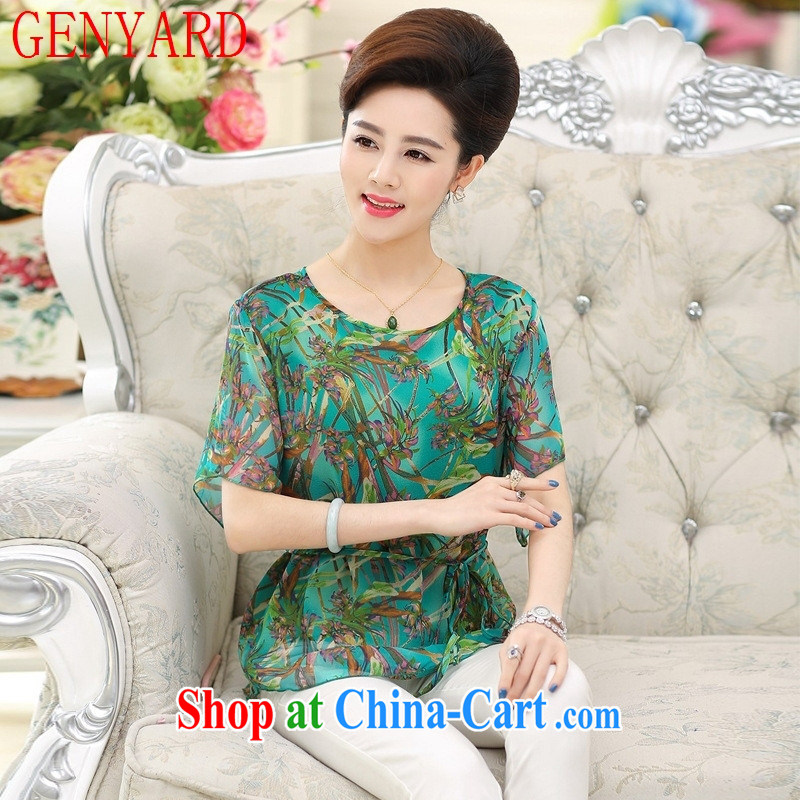 Qin Qing store 2015 summer New Silk short-sleeved T-shirt, older mothers with larger female stamp sauna silk short-sleeved T-shirt blue XXXL