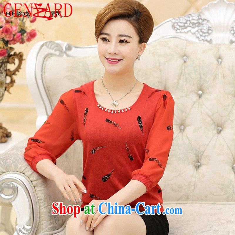 Qin Qing store in 2015 older women spring new T �� T-shirt stylish 7 cuff lace snow woven large code mom with T-shirt red XXXL