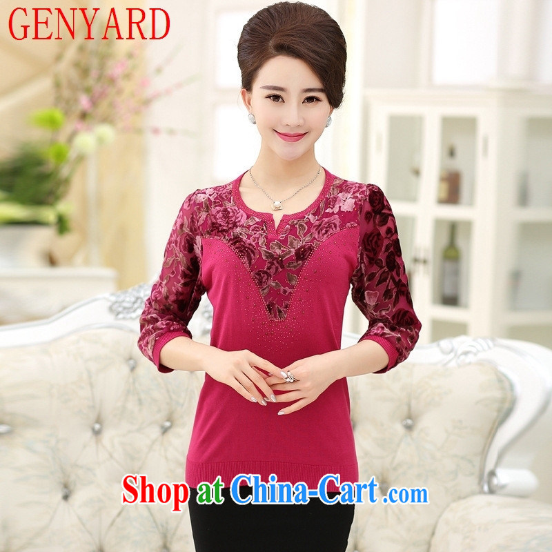 Qin Qing store 2015 middle-aged and older spring loaded the code MOM decorated in lace snow woven shirts nets T shirts middle-aged solid knit-watermelon red XXXL