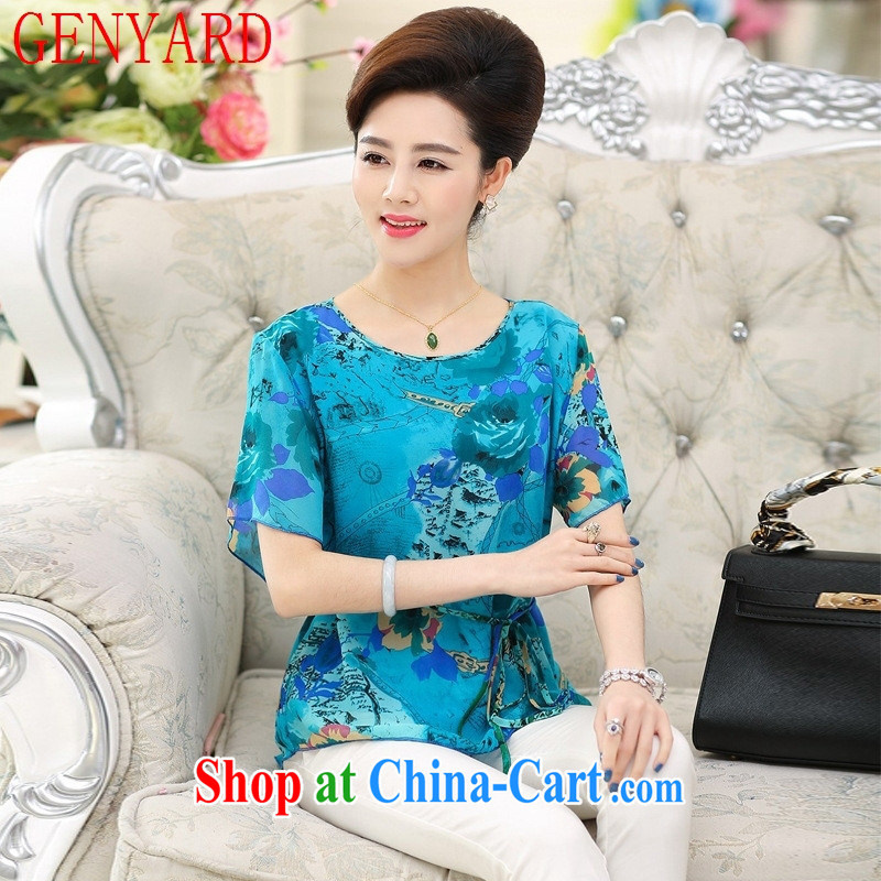 Qin Qing store 2015 summer silk short-sleeved round neck sauna silk stamp mother load in the summer older relaxed T shirt by red XXXL