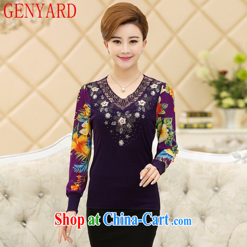 Qin Qing store spring 2015 new women, mothers with long-sleeved stamp lace snow woven shirts T shirts middle-aged solid knit-black XXXL