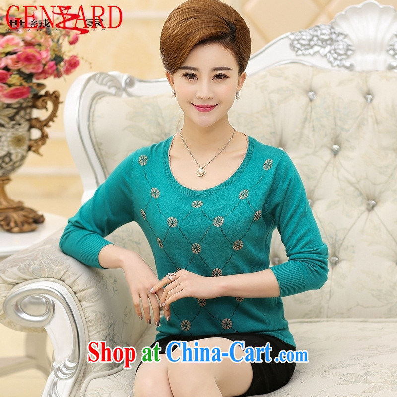 Rachel Deloitte Touche Tohmatsu in store older women with new spring and summer wear long-sleeved T-shirt the cultivation, cultivating mom with lace snow woven shirts T �� Lake blue XXXL