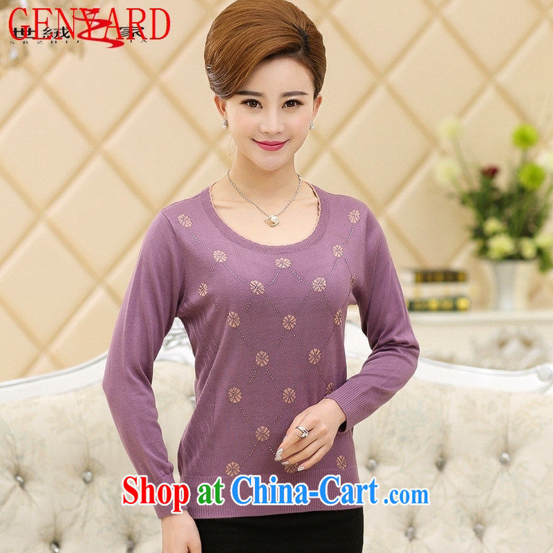 Deloitte Touche Tohmatsu store fine older women with new spring and summer with long-sleeved T-shirt the beauty, Beauty mom with lace snow woven shirts T æ¡– Lake blue XXXL, GENYARD, shopping on the Internet