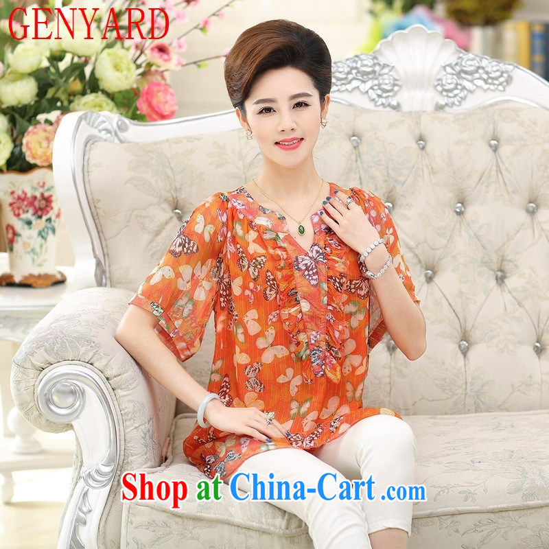 Qin Qing store 2015 spring and summer new, middle-aged and older female summer stamp duty middle-aged mother with silk sauna in silk cuff T pension Red Orange XXXL