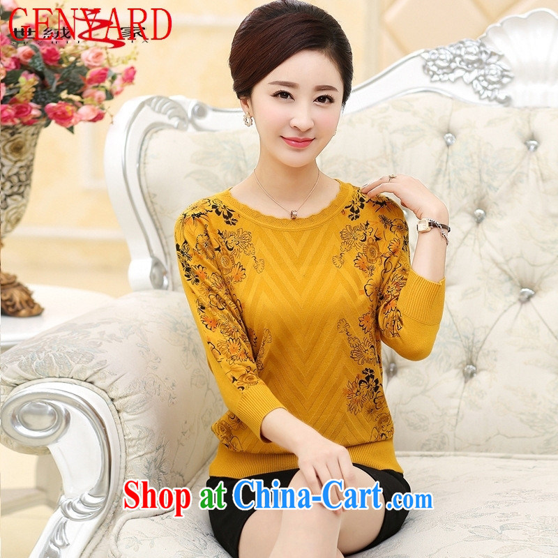 Qin Qing store 2015 spring and summer new, middle-aged and older mothers with loose solid shirt middle-aged female bat sleeves snow woven knit-blue lake XXXL