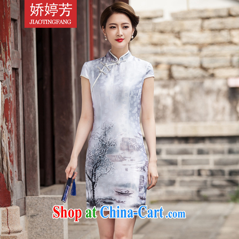 Air-ting-fang 2015 new painting classic short-sleeved dresses retro style Chinese style qipao day painting XXL