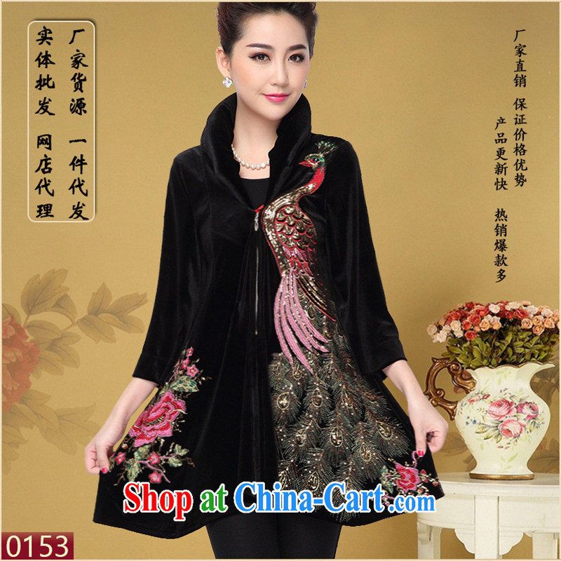 Ya-ting store in 2014 older women with autumn aura MOM jackets larger Phoenix embroidery, velvet wind jacket shawl the lint-free cloth 5 XL