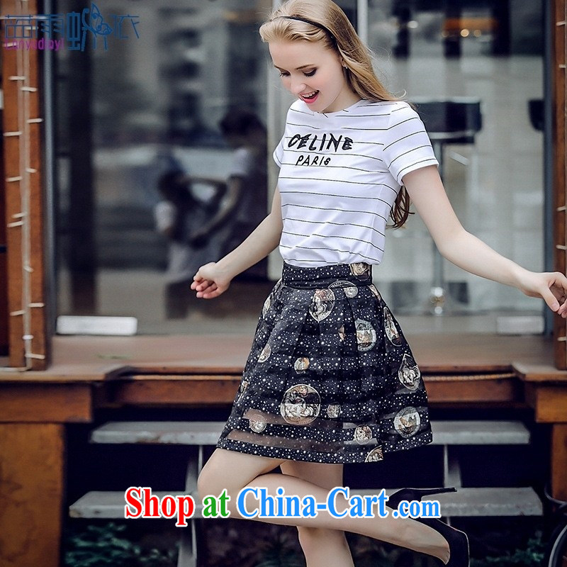 Blue rain butterfly * in accordance with the European site 2015 summer new female striped letters short-sleeve shirt T round collar, cultivating N 5048 white XL