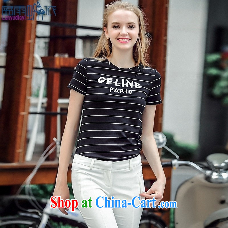 Blue rain butterfly * in accordance with the European site 2015 summer new female striped letters short-sleeve shirt T circle for cultivating, 5048 N XL white, blue rain bow, and shopping on the Internet