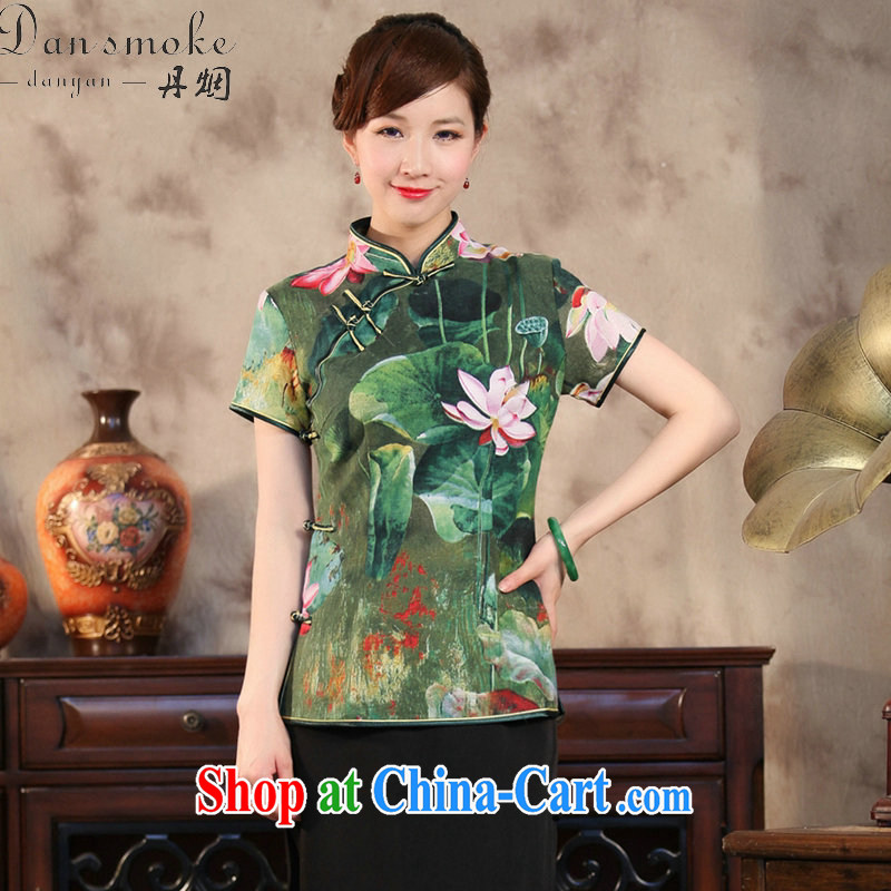 Dan smoke-free summer new, Chinese qipao T-shirt Chinese Antique improved cotton Ma hand-painted Buddha take short-sleeved Chinese figure 3XL