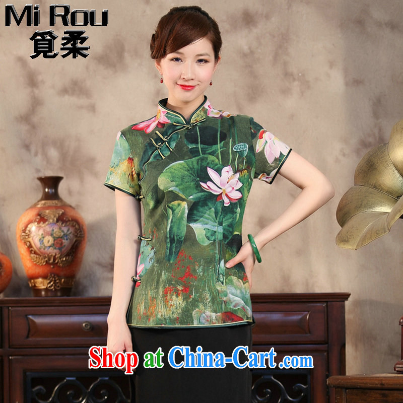Find Sophie summer new, Chinese qipao T-shirt Chinese Antique improved cotton Ma hand-painted Buddha take short-sleeved Chinese figure color 2 XL