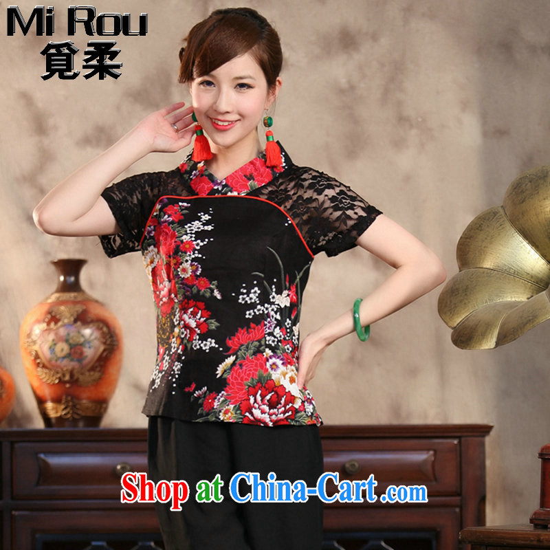 Find Sophie summer new ethnic wind and stylish improvements, Ms. Yau Ma Tei cotton lace hand painted large, short-sleeved Chinese T-shirt peony flower 5 XL, flexible employment, shopping on the Internet