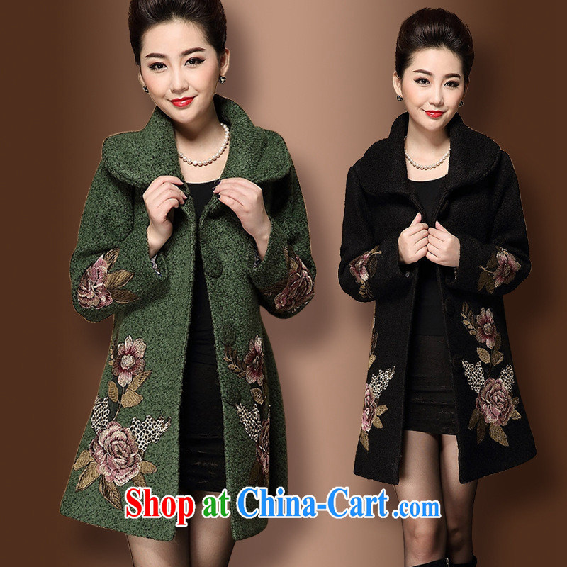 Ya-ting store mother load in winter long wool coat in the elderly, female winter clothing thick warm hair so the coat black 4XL