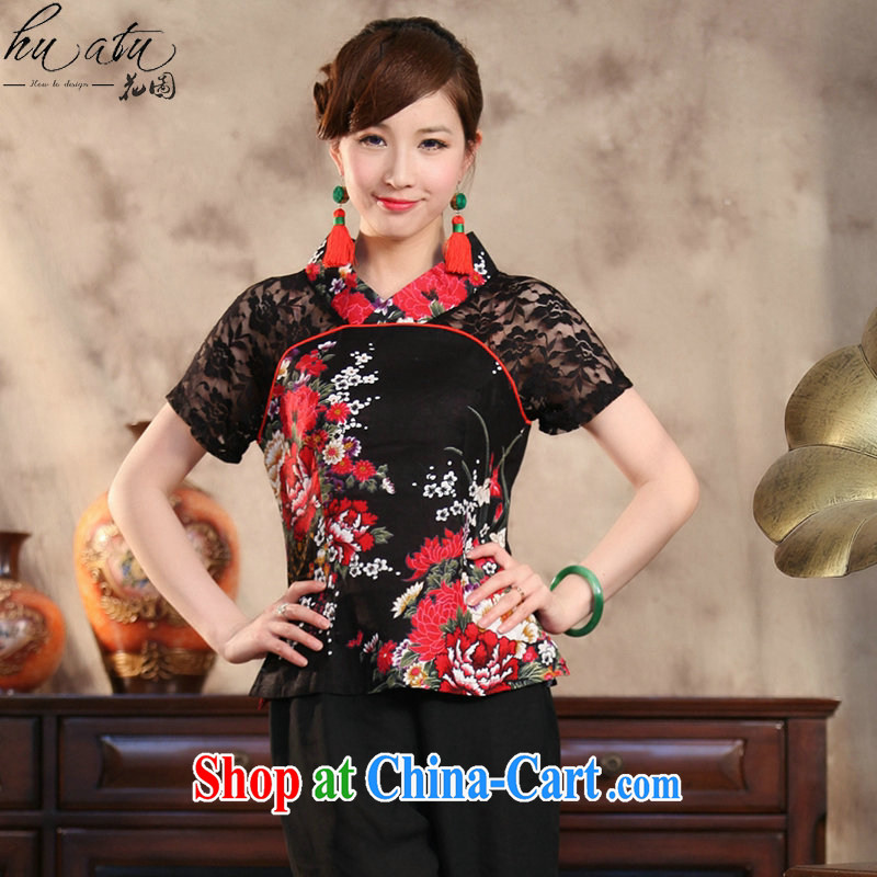 spend the summer with new Ethnic Wind and stylish improved Ms. Yau Ma Tei cotton lace hand painted large, short-sleeved Chinese shirt peony flower 4 XL
