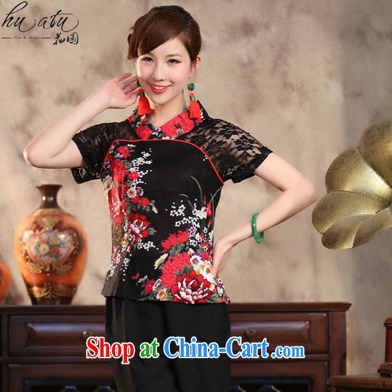 spend the summer with new Ethnic Wind and stylish improvements, the Commission cotton lace hand-painted large, short-sleeved Chinese T-shirt peony flower 4 XL, spend figure, shopping on the Internet