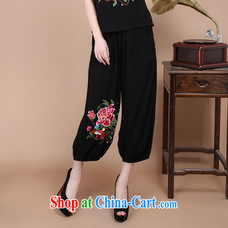 Nest, summer 2015 the new middle-aged and older Chinese Ethnic Wind cotton embroidery has been the 7 pants female black XL