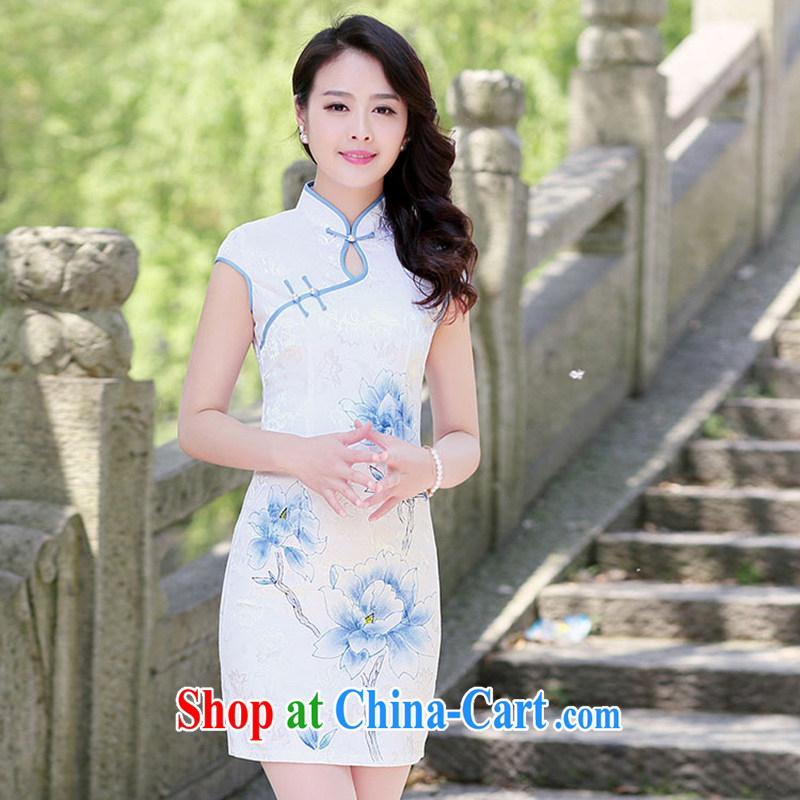 Nest, summer 2015 new high-collar-tie stamp Lotus fresh package and cultivating cheongsam dress female blue lotus XXL