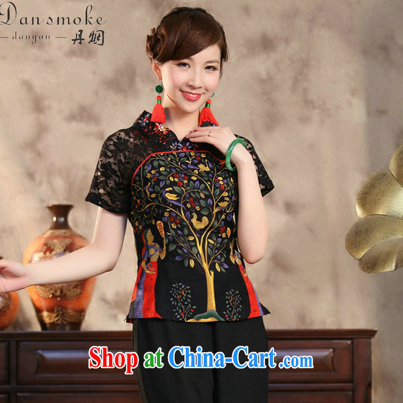 Bin Laden smoke-free summer new Ethnic Wind and stylish improvements, the Commission cotton lace hand-painted large, short-sleeved Chinese shirt moneymaker 3 XL