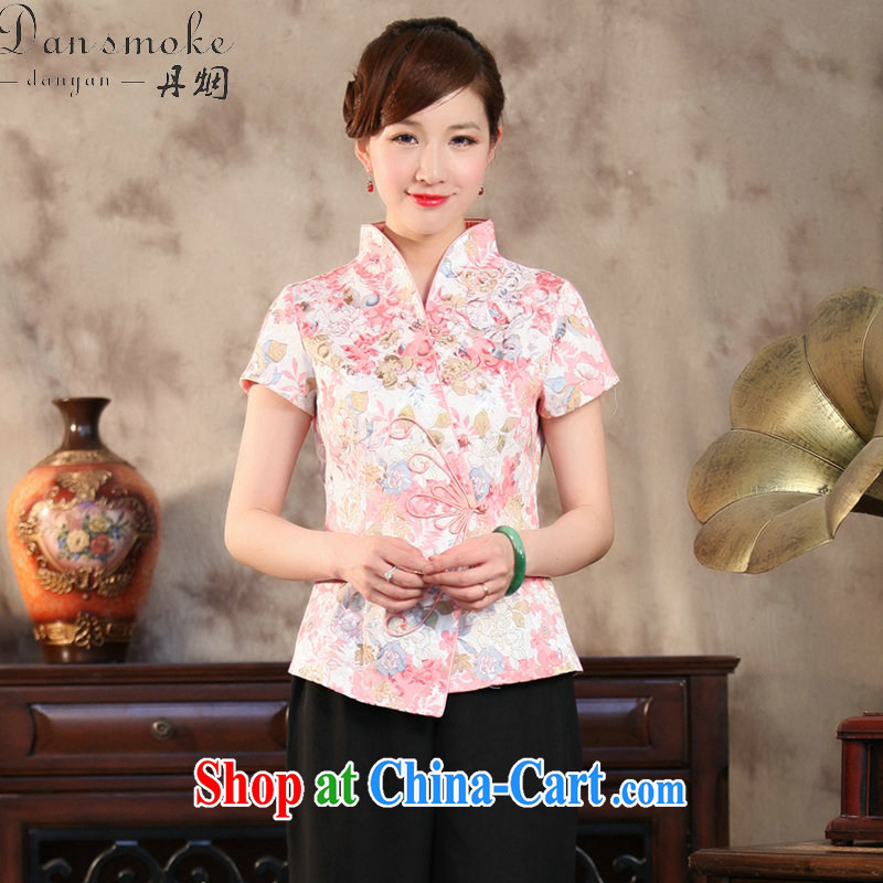 Bin Laden smoke summer new, Chinese qipao T-shirt Chinese improved antique, stamp duty for cotton short-sleeved Chinese figure color 2 XL