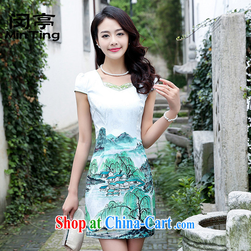 Min-ting-day cheongsam dress short women 2015 summer new, improved and stylish the waist bows. Cultivating cheongsam dress green willows 5933 L