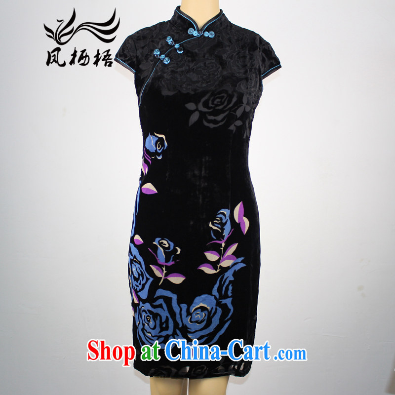 Bong-amphibious Ori-a-summer 2015 new retro velvet cheongsam daily fashion beauty short sleeve cheongsam dress DQ by 15,109 blue flower XXXL