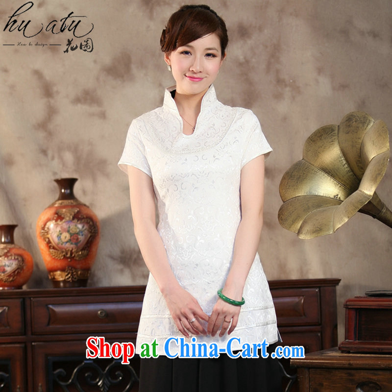 spend the summer with new female Chinese qipao T-shirt Chinese improved, LED light, long, short-sleeved Chinese White XL