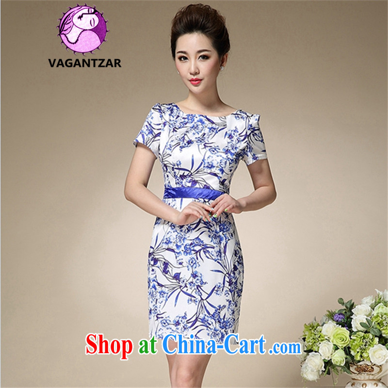 VAGANTZAR 2015 summer new female middle-aged retro beauty blue and white porcelain stamp graphics thin cheongsam dress Q 8991 blue XXXL