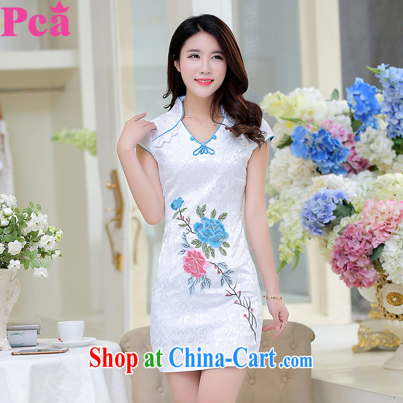 PCA dresses summer improved China wind cultivating short-sleeved cheongsam dress white L
