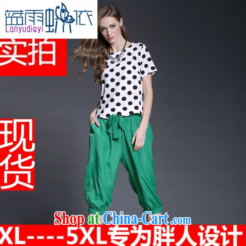 Hamilton in Europe and America, the female summer thick MM new retro dot snow woven shirts, 7 pants two sets of picture color the code 5 XL