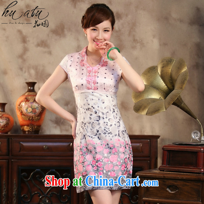 spend the summer with new, improved Chinese qipao elegant lace collar Chinese cotton short cheongsam banquet dress pink 2 XL