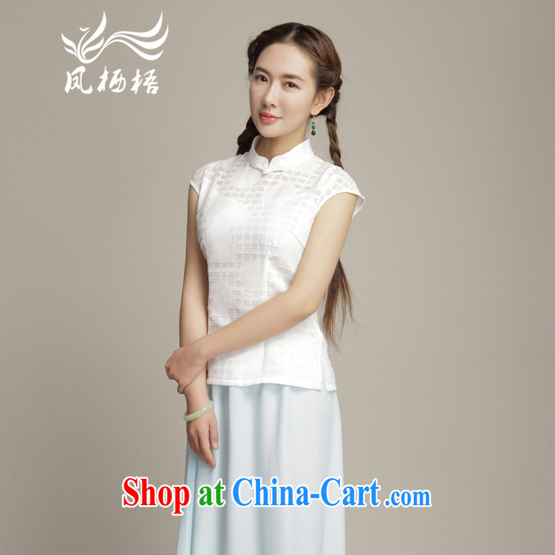 Bong-amphibious NTHU summer 2015 new Chinese qipao T-shirt small fresh and stylish improved Chinese snow woven shirts DQ 15,106 white XXL