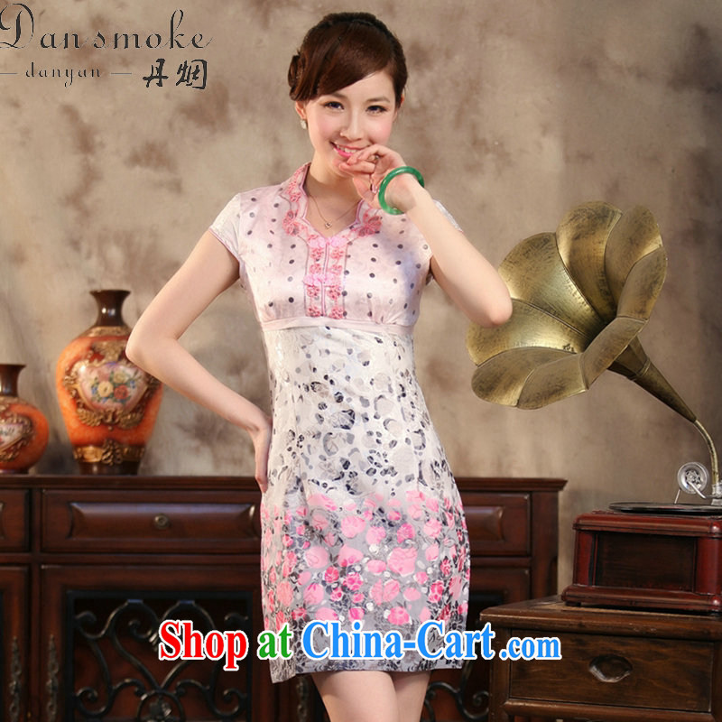 Dan smoke summer new, improved Chinese qipao elegant lace collar Chinese cotton short cheongsam banquet dress pink 2 XL