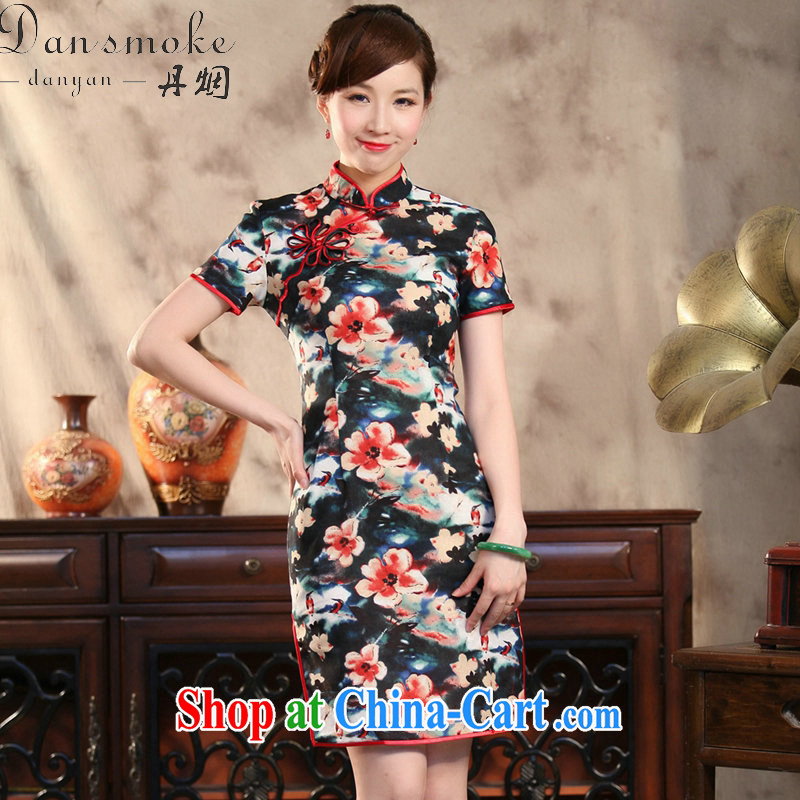 Dan smoke summer Ms. cheongsam Chinese Antique cotton the modern Chinese qipao spend quintessence of improved short cheongsam figure 3XL
