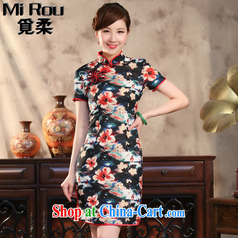 Find Sophie summer Ms. cheongsam Chinese Antique cotton the modern Chinese qipao spend quintessence of improved short cheongsam figure 3XL