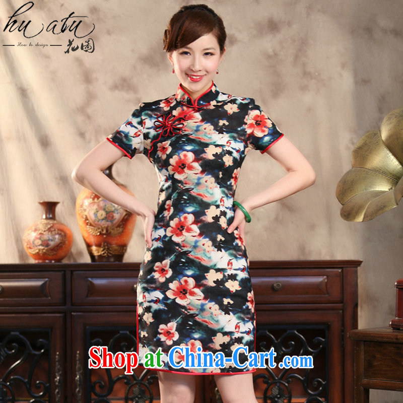 spend the summer Ms. cheongsam Chinese Antique cotton the stylish Chinese qipao spend quintessence of improved short cheongsam figure 3XL