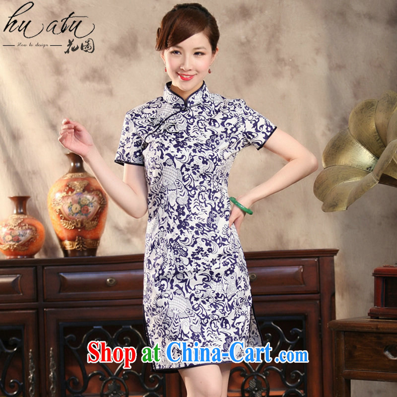 Take the new girls dresses summer Chinese Antique prettier blue and white porcelain Chinese improved goldfish snap short qipao Cheong Wa Dae LAN 3 XL