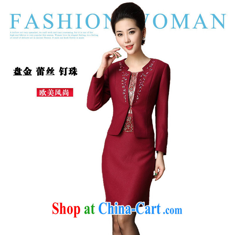 Autumn 2014 new middle-aged and older women wear two-piece mother red stylish autumn is a long-sleeved shirt dark red short-sleeved XXXXL